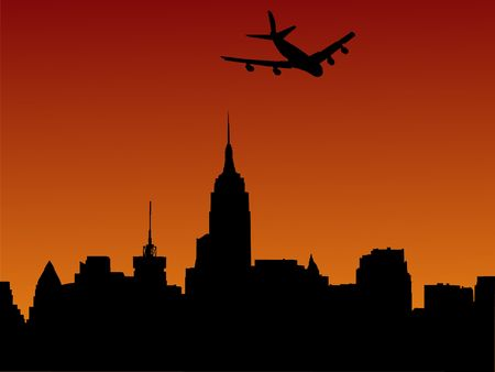 arriving: plane arriving in Manhattan at sunset illustration