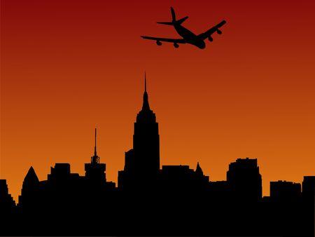 midtown: plane arriving in Manhattan at sunset illustration