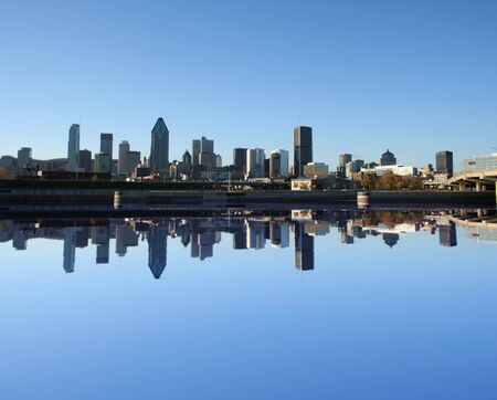 montreal: Montreal skyline reflected in water illustration