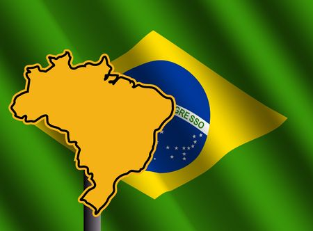 rippled: Brazil map sign and rippled brazilian flag illustration