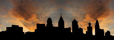 philadelphia: Philadelphia skyline at sunset with beautiful sky illustration