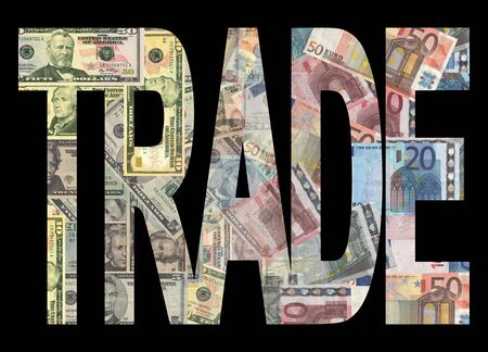 American and european currency trade background illustration illustration