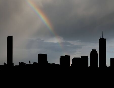 refracted: Boston skyline with rainbow and dark clouds illustration