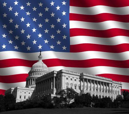 dc: US Capitol edificio di Washington DC con rippled bandiera americana