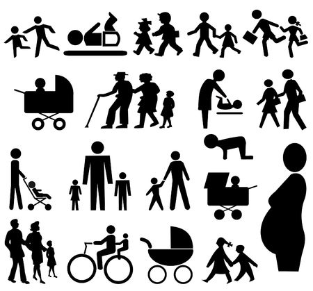 grand parents: assorted  silhouettes pram, grand parents pregnant woman Stock Photo