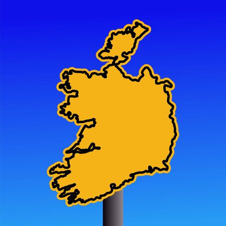 yellow Ireland map warning sign on blue illustration Stock Illustration - 3559043