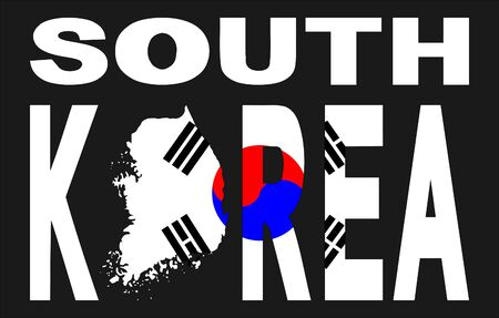 south asian: South Korea text with map and flag illustration
