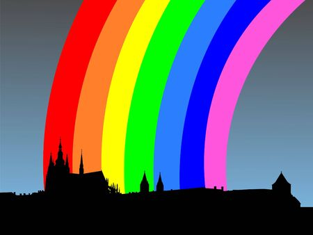 refracted: St Vitus cathedral and Prague castle with rainbow illustration Stock Photo