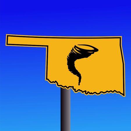 storm damage: Oklahoma warning sign with tornado symbol
