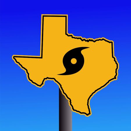 Texas warning sign with hurricane symbol