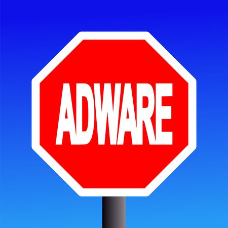 stop Adware sign on blue sky illustration Stock Illustration - 3559060