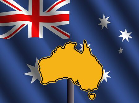 Australia map sign and rippled Australian flag illustration illustration