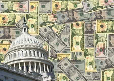 capitol: US capitol Building and American dollars illustration