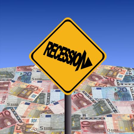Recession warning sign with Euros globe illustration illustration