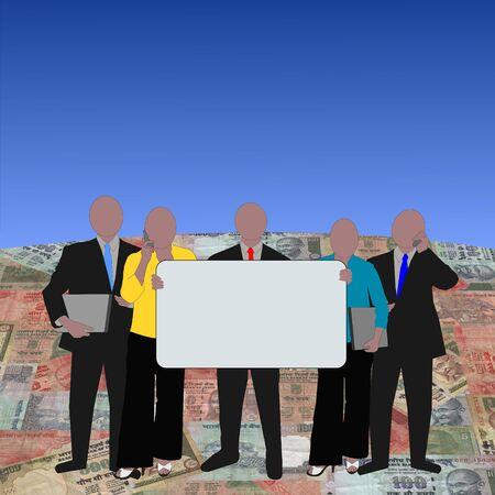 Indian Business team on rupee globe illustration illustration