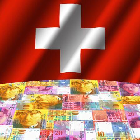 rippled flag with Swiss francs globe illustration Stock Illustration - 3575390