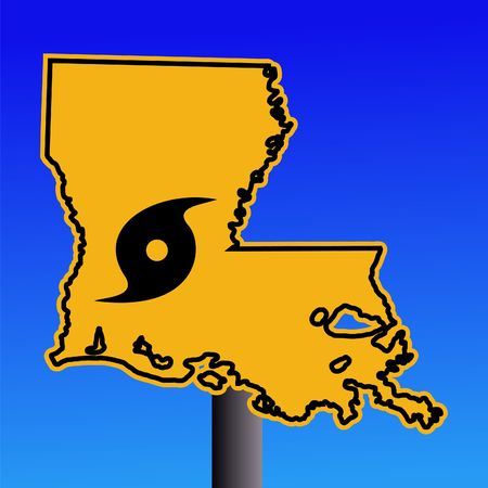 louisiana state: Louisiana warning sign with hurricane symbol on blue illustration