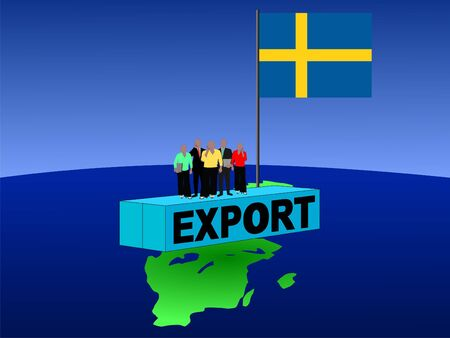 Swedish business team on export container with flag illustration Stock Illustration - 3575396