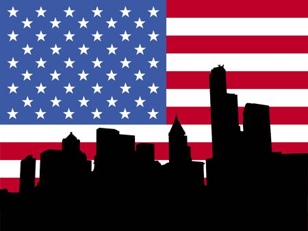 seattle skyline: Seattle skyline and American flag illustration