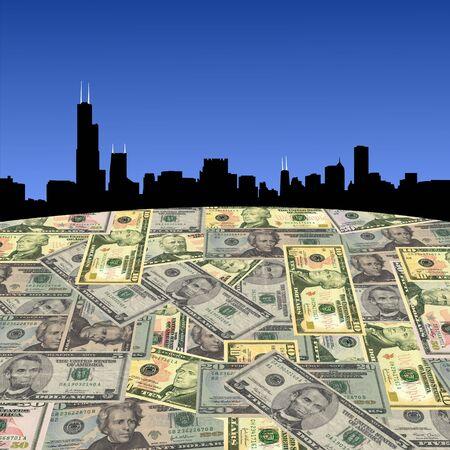 Chicago skyline with American dollars foreground illustration illustration