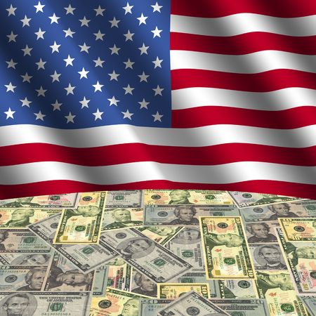 rippled flag with American dollars globe illustration illustration