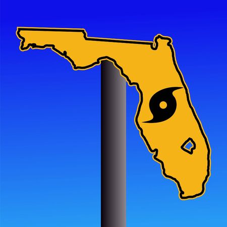 Florida warning sign with hurricane symbol on blue illustration illustration