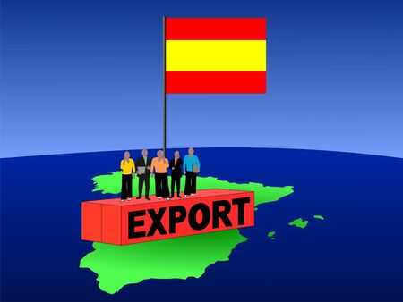 Spanish business team on export container with flag illustration illustration