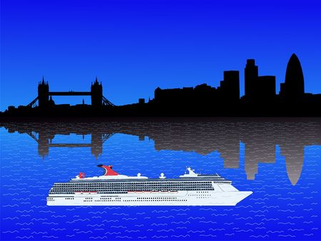 river thames: London skyline with cruise ship on River Thames illustration Stock Photo