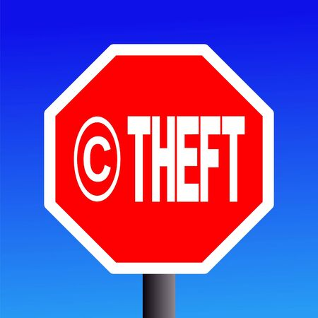 stop Copyright theft sign on blue sky illustration Stock Illustration - 3592131
