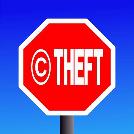 stop Copyright theft sign on blue sky illustration Stock Illustration - 3592131