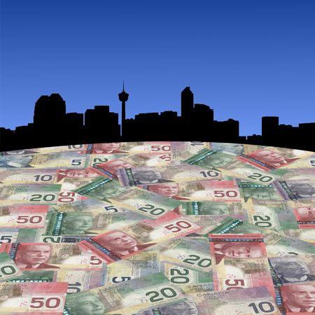 calgary: Calgary skyline with Canadian dollars foreground illustration