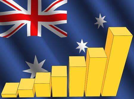 economic interest: bar chart and rippled Australian flag illustration