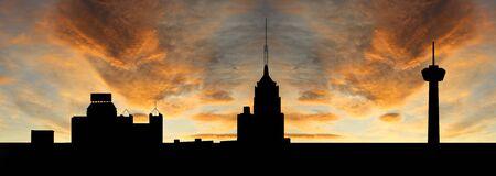 antonio: San Antonio at sunset with colourful sky illustration Stock Photo