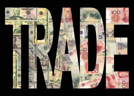 Chinese and American currency Trade illustration illustration