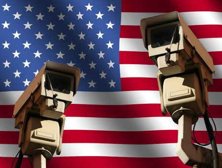 close circuit camera: two CCTV cameras and rippled American flag illustration