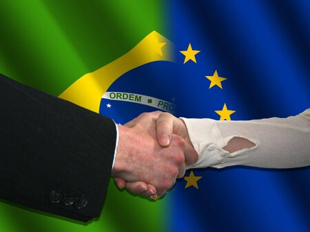 eu: handshake over Brazilian and Eu flags illustration