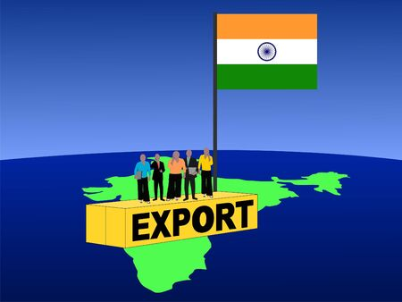 Indian business team on export container photo