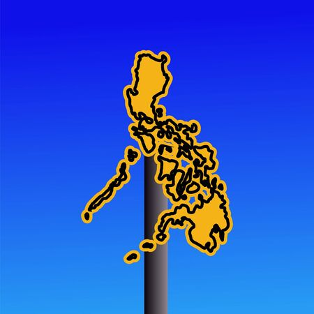 philippines  map: yellow Philippines map warning sign on blue illustration