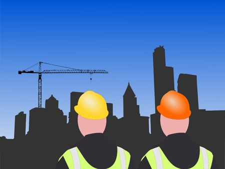 construction workers and seattle skyline illustration illustration