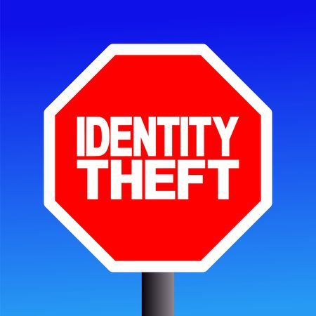 commands: stop Identity theft sign on blue sky illustration