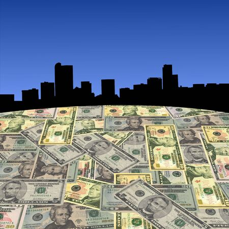 Denver skyline with American dollars foreground illustration Stock Illustration - 3605067