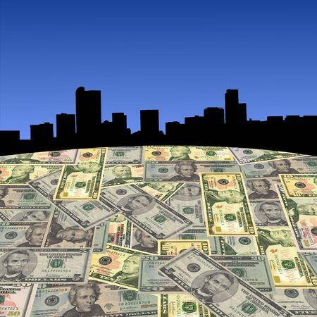 Denver skyline with American dollars foreground illustration Stock Illustration - 3605067