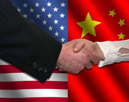 handshake over American and Chinese flags illustration illustration