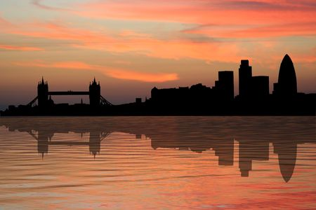 river thames: London skyline at sunset with beautiful sky illustration