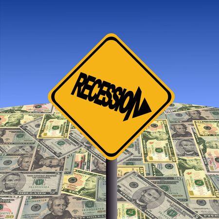 Recession warning sign with American dollars globe illustration illustration