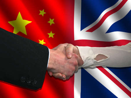 truce: handshake over Chinese and British flags illustration