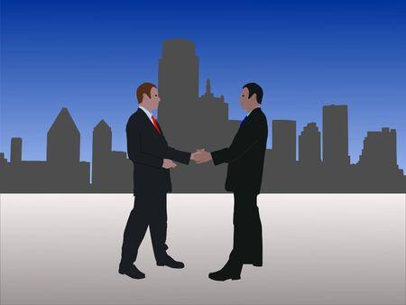 negotiator: business men meeting with handshake with Dallas skyline