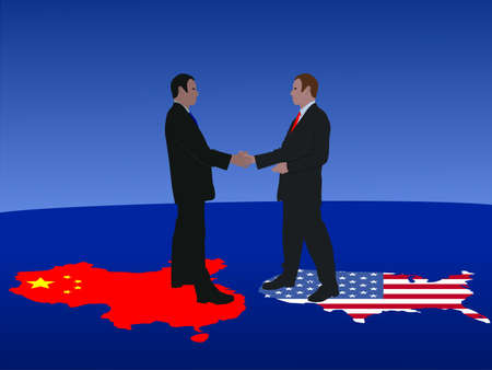 Chinese and American business men meeting with handshake Stock Photo - 3614843