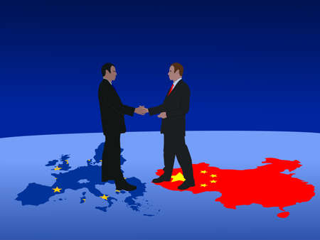 negotiator: European and Chinese business men meeting with handshake Stock Photo