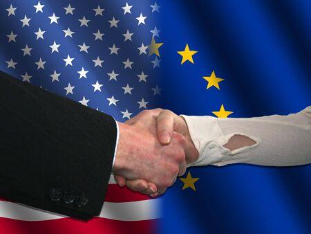 handshake over American and EU flags illustration illustration
